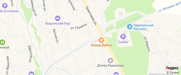 Улица Пушкина на карте поселка Аршана с номерами домов