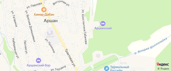 Улица Габанова на карте поселка Аршана с номерами домов