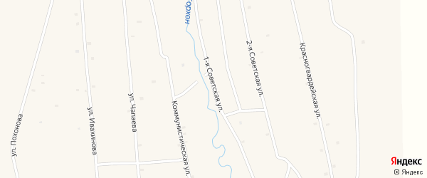 Советская 1-я улица на карте села Жемчуга с номерами домов