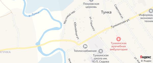 Юбилейная улица на карте села Тунки с номерами домов