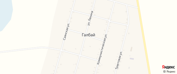 Коммунистическая улица на карте села Галбая с номерами домов