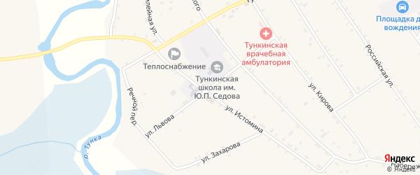 Улица Львова на карте села Тунки с номерами домов