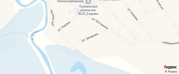 Улица Захарова на карте села Тунки с номерами домов