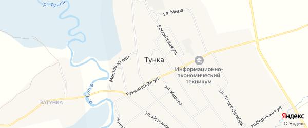 Карта села Тунки в Бурятии с улицами и номерами домов
