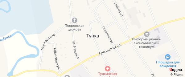 Октябрьский переулок на карте села Тунки с номерами домов
