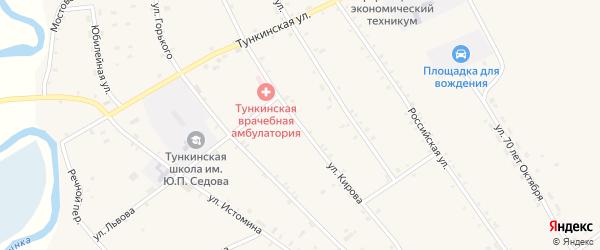 Улица Кирова на карте села Тунки с номерами домов