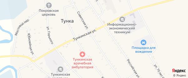 Советская улица на карте села Тунки с номерами домов