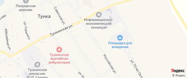 Российская улица на карте села Тунки с номерами домов