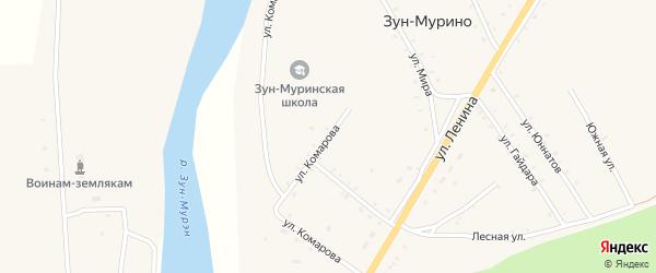 Улица Комарова на карте поселка Зун-Мурино с номерами домов