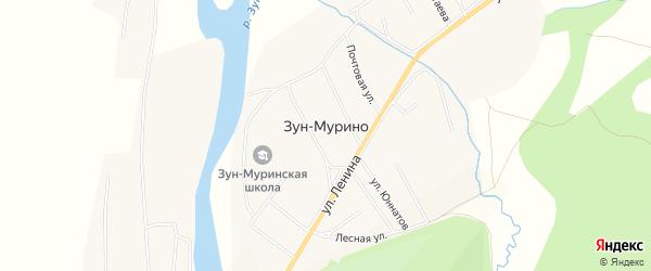 Карта поселка Зун-Мурино в Бурятии с улицами и номерами домов