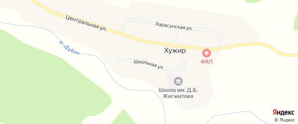 Школьная улица на карте улуса Хужир с номерами домов
