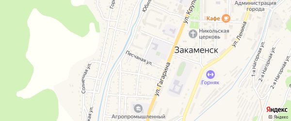 Песчаная улица на карте Закаменска с номерами домов