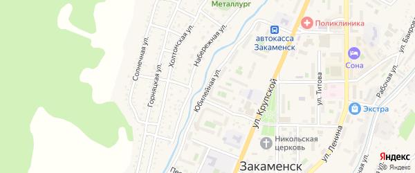 Юбилейная улица на карте Закаменска с номерами домов