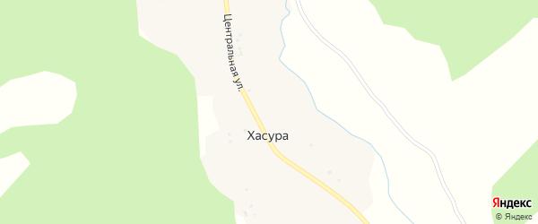 Центральная улица на карте поселка Хасуры с номерами домов