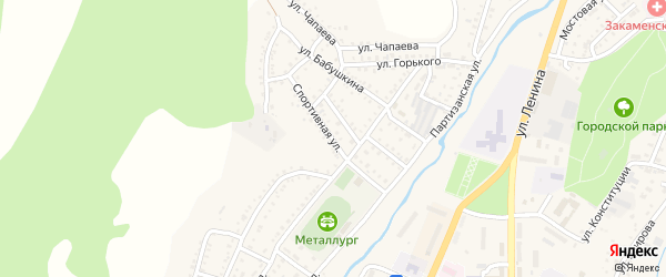 Спортивная улица на карте Закаменска с номерами домов