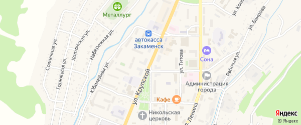 Крупской 1-я улица на карте Закаменска с номерами домов