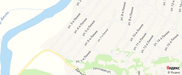 6-я линия на карте территории ДНТ Горняка с номерами домов