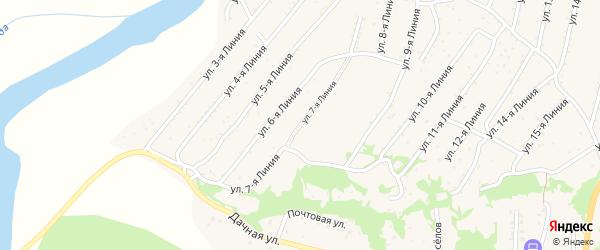 7-я линия на карте территории ДНТ Горняка с номерами домов