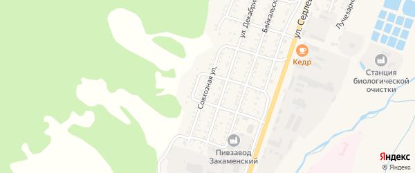 Совхозная улица на карте Закаменска с номерами домов