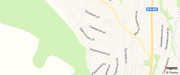 Цветочная улица на карте Закаменска с номерами домов