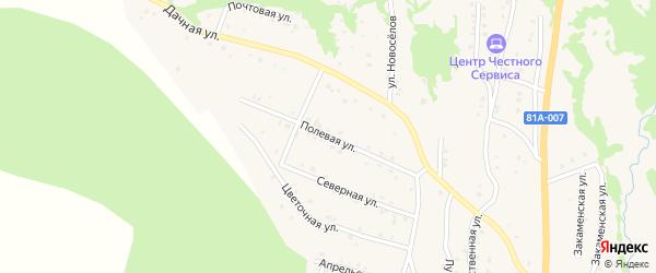 Полевая улица на карте Закаменска с номерами домов