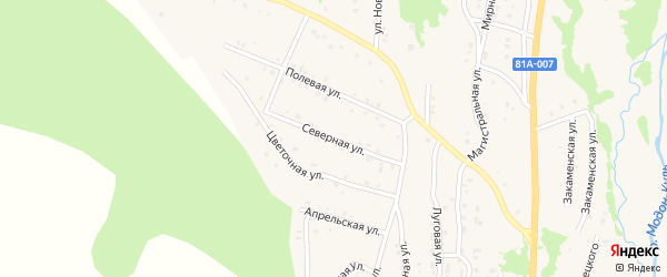 Северная улица на карте Закаменска с номерами домов