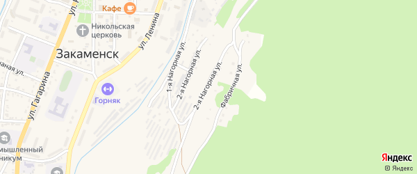 Нагорная 1-я улица на карте Закаменска с номерами домов