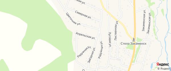Апрельская улица на карте Закаменска с номерами домов