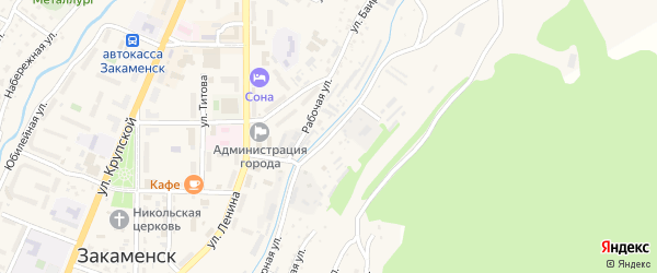 Джидинская улица на карте Закаменска с номерами домов