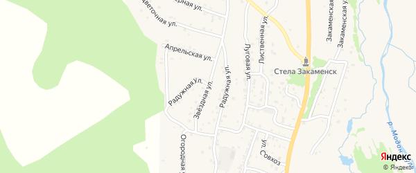 Звездная улица на карте Закаменска с номерами домов