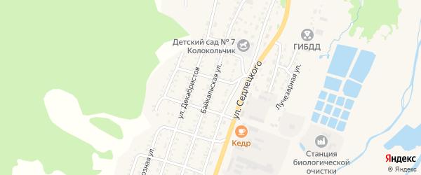 Байкальская улица на карте Закаменска с номерами домов