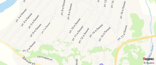 11-я линия на карте территории ДНТ Горняка с номерами домов