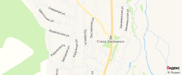 Лиственная улица на карте Закаменска с номерами домов