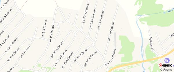 Линия 13-я улица на карте территории ДНТ Горняка с номерами домов