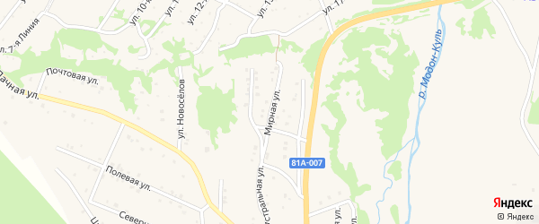 Мирная улица на карте Закаменска с номерами домов