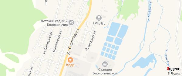 Лучезарная улица на карте Закаменска с номерами домов
