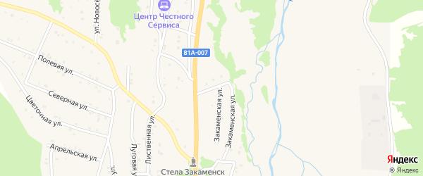 Начальная улица на карте Закаменска с номерами домов