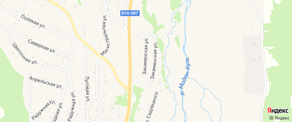 Закаменская улица на карте Закаменска с номерами домов