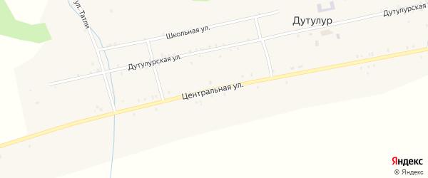 Центральная улица на карте улуса Дутулур с номерами домов