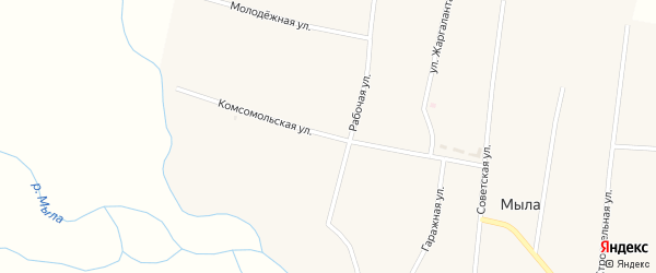 Комсомольская улица на карте улуса Мыла с номерами домов