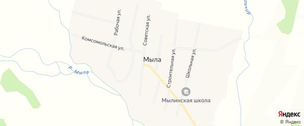 Карта улуса Мыла в Бурятии с улицами и номерами домов
