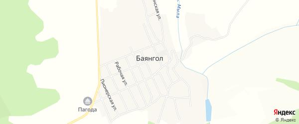Карта села Баянгола в Бурятии с улицами и номерами домов