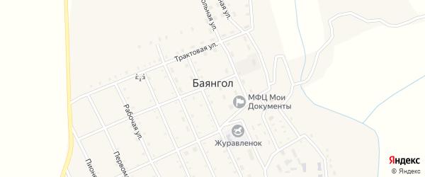Центральная улица на карте села Баянгола с номерами домов