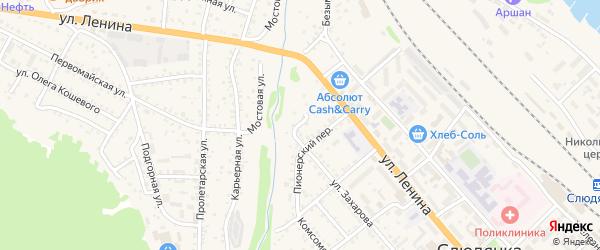 Береговой переулок на карте Слюдянки с номерами домов