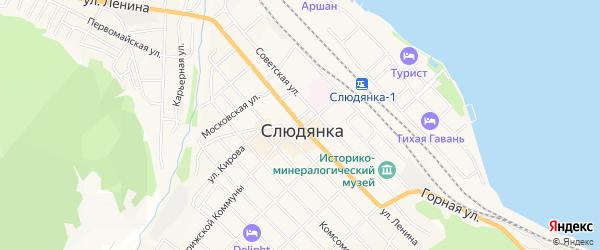 ГСК Перевал на карте Слюдянки с номерами домов