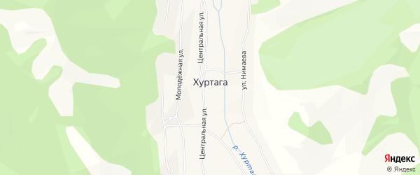 Карта улуса Хуртага в Бурятии с улицами и номерами домов