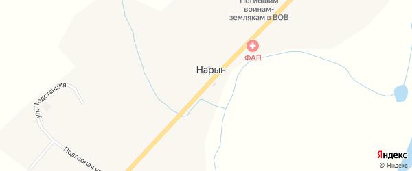 Центральная улица на карте села Нарына с номерами домов