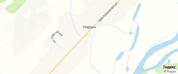 Карта села Нарына в Бурятии с улицами и номерами домов