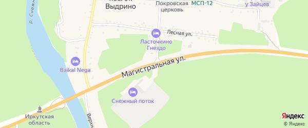Магистральная улица на карте поселка Выдрино с номерами домов