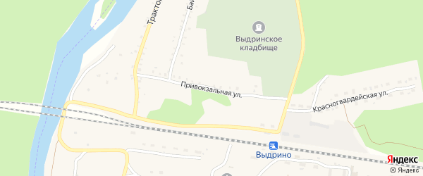 Привокзальная улица на карте поселка Выдрино с номерами домов